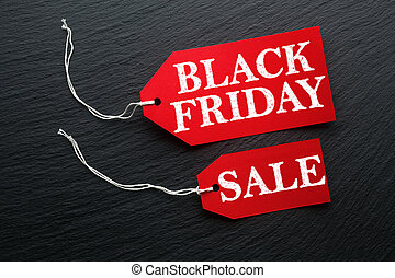 Black Friday Sale tag on dark background