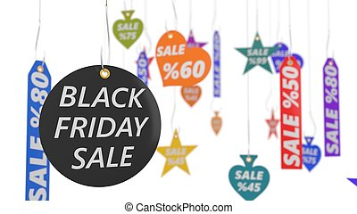 black friday sale tags. 3d illustration.