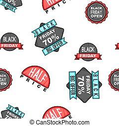 Black Friday sale tags pattern, cartoon style