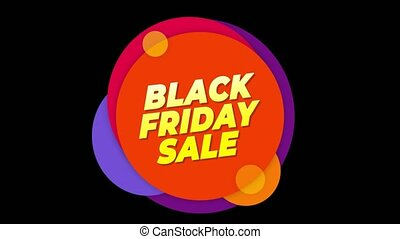 Black Friday Sale Flat Style Banner Sticker Colorful Label Popup Promotional Animation. Sale, Discounts, Deals, Special Offers. Green Screen and Alpha Matte