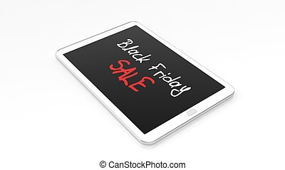 Black Friday Sale text on laptops screen, isolated on white.
