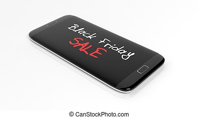 Black Friday Sale text on smartphone screen, isolated on white.