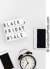 Black friday sale text on white lightbox