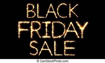 Black Friday Sale Text Sparkler Glitter Sparks Firework Loop...