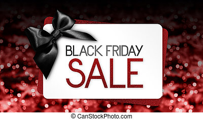 Black Friday sale text write on gift card label with black ribbon bow on red blurred bright lights background