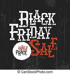 Black Friday Sale Typography. Half-price label. Wild West Style. Spaghetti western typography design. Cowboy themed design