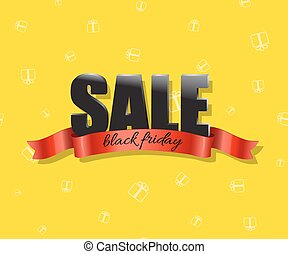 Black friday sale vector illustration. Black text with red ribbon on yellow holiday background.