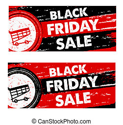 black friday sale with shopping cart, drawn banners