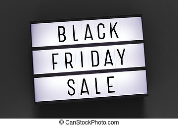 Black friday sale word on lightbox