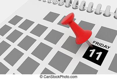 black friday sales 11 calendar - 3d rendering