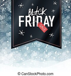 Black Friday sales Advertising Poster with Snow Fall Background. Christmas sale