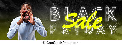 Black friday, sales. Modern design. Contemporary art collage.