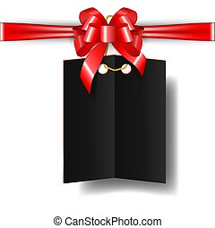 Black Friday sales tag with Red bow and ribbon For marketing gifts and discounts. Elements for Fashion sales isolated on transparent background. Vector illustration