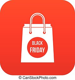 Black Friday shopping bag icon digital red