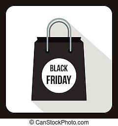 Black Friday shopping bag icon, flat style