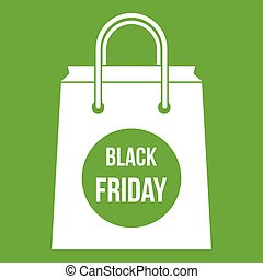 Black Friday shopping bag icon green