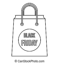 Black Friday shopping bag icon, outline style