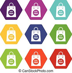 Black Friday shopping bag icon set color hexahedron