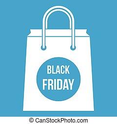 Black Friday shopping bag icon white