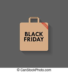 Black friday. Shopping bag icon with shadow