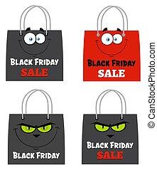 Black Friday Shopping Bags Cartoon Character Set 2. Flat Vector Collection