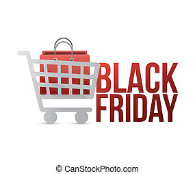 black friday shopping cart concept