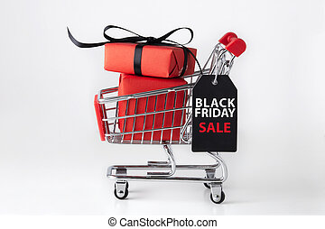 Black friday shopping cart with red gift box