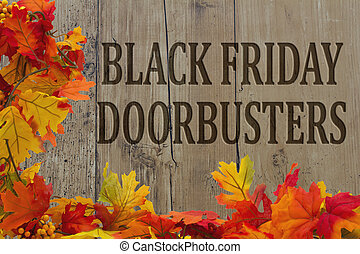 Black Friday Shopping Doorbusters, Autumn Leaves with grunge...