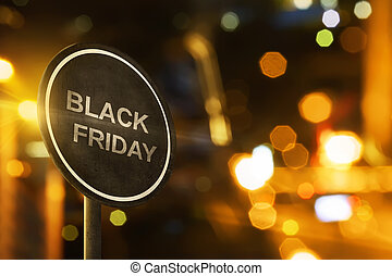 Black Friday sign with blur lighting