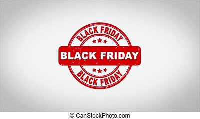 Black Friday Signed Stamping Text Wooden Stamp Animation. Red Ink on Clean White Paper Surface Background with Green matte Background Included.