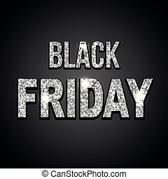 Black friday silver glitter text on dark background