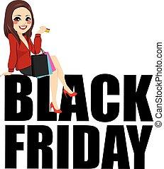 Black Friday Sitting Woman Text