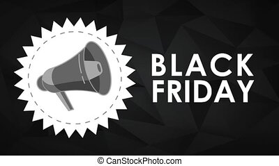 Black friday stamp with bullhorn HD animation - Black friday...