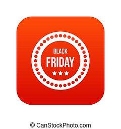 Black Friday sticker icon digital red