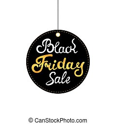 Black Friday tag. Sale label. Hand drawn lettering with gold texture