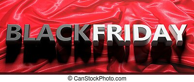 Black Friday text letters against red color background. 3d illustration