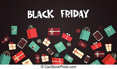 Black Friday Text On Background With Different Gift Boxes Big Holiday Discount Banner Concept