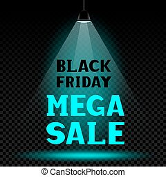black friday text on lamp light background
