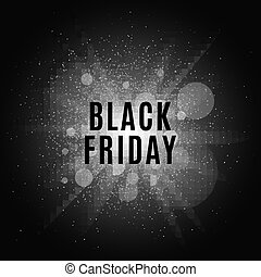 Black Friday. Text on the background of a white flash with luminous dust. Cover for the project. Vector illustration