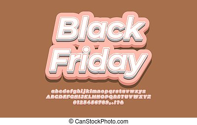 Black friday text template for sale discount promotion  3d modern pink