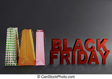 Black Friday text with colorful paper bag