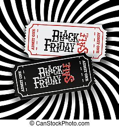 """Black Friday Ticket Concept. Retro styled """"Black Friday"""" typography on two old-fashioned cinema tickets on black and white sunburst monochrome background. All layers separated and can be edited."""