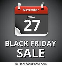 Black friday sale, calendar with dark page, vector...