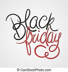 Black Friday Vector Illustration. Black & Red Hand Lettered...