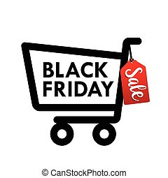 Black friday web tag banner with shopping cart icon for promotion sale discount style vector illustration 001