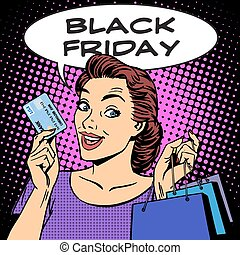 Black Friday woman with business card discounts pop art...