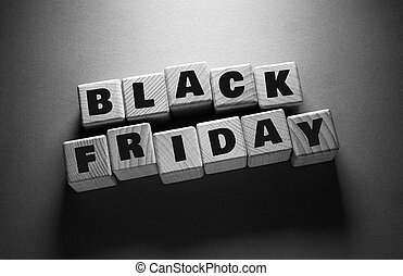 Black Friday Word with Wooden Cubes