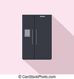 Black fridge icon, flat style