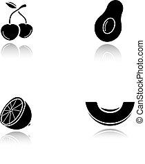 black , fruit, schaduw, iconen, set, druppel