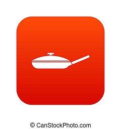 Black frying pan icon digital red